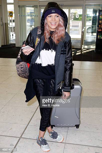 Rebecca Dudley seen arriving at Glasgow Airport after attending the MTV EMA's on November 10 2014 in Glasgow England Photo by Alex Huckle/GC Images