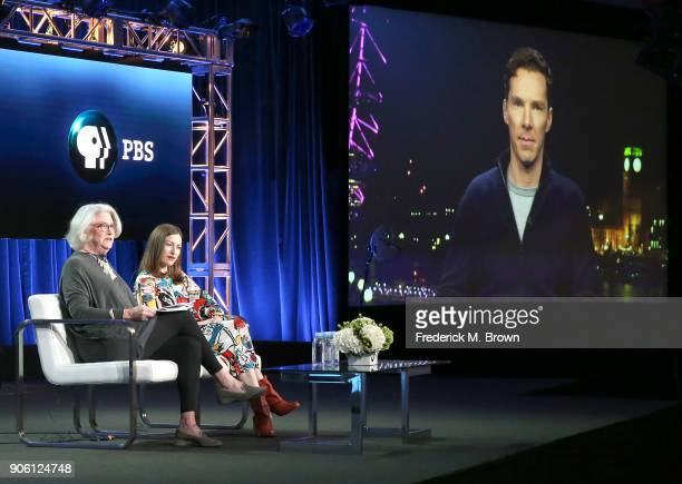 Rebecca Eaton series executive producer actress Kelly Macdonald and actor Benedict Cumberbatch speak during the 2018 Winter Television Critics...