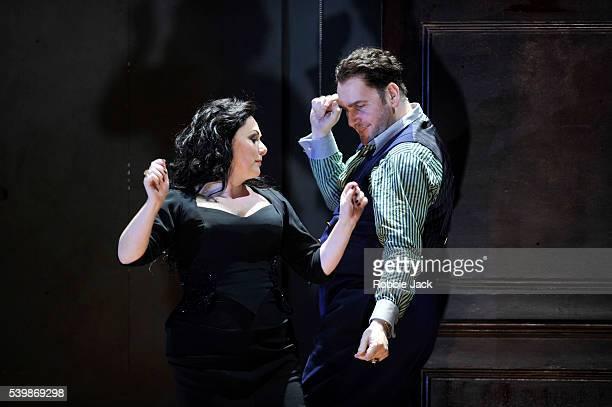 Rebecca Evans as Rodelinda and John Mark Ainsley as Grimoaldo in English National Opera's production of George Frideric Handel's Rodelinda directed...
