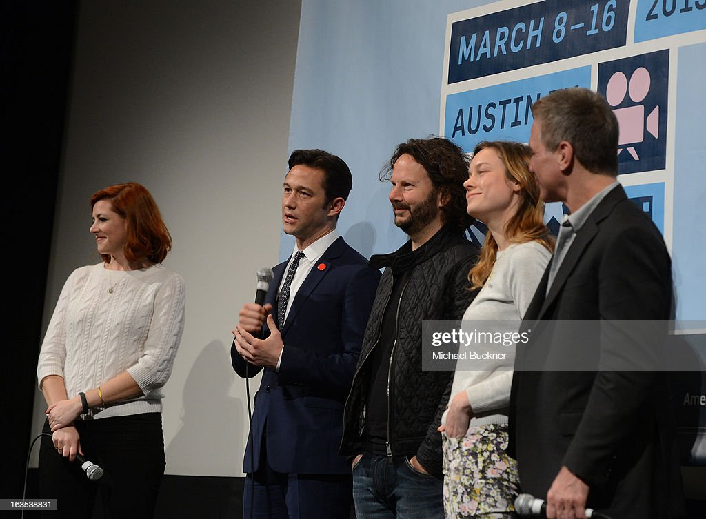 Rebecca Feferman of SXSW, director Joseph Gordon-Levitt, producer Ram Bergman, actress Brie Larson and actor Tony Danza speak after the film 'Don Jon's Addiction' during the 2013 SXSW Music, Film + Interactive Festival at the Paramount Theatre on March 11, 2013 in Austin, Texas.