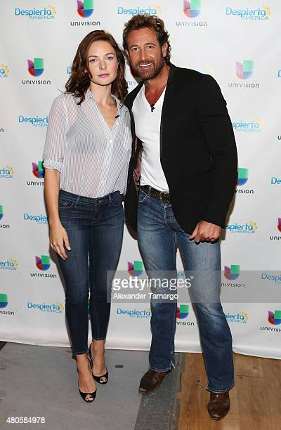 Rebecca Ferguson and Gabriel Soto visit the set of Despierta America to promote the movie Mission Impossible Rogue Nation at Univision Studios on...