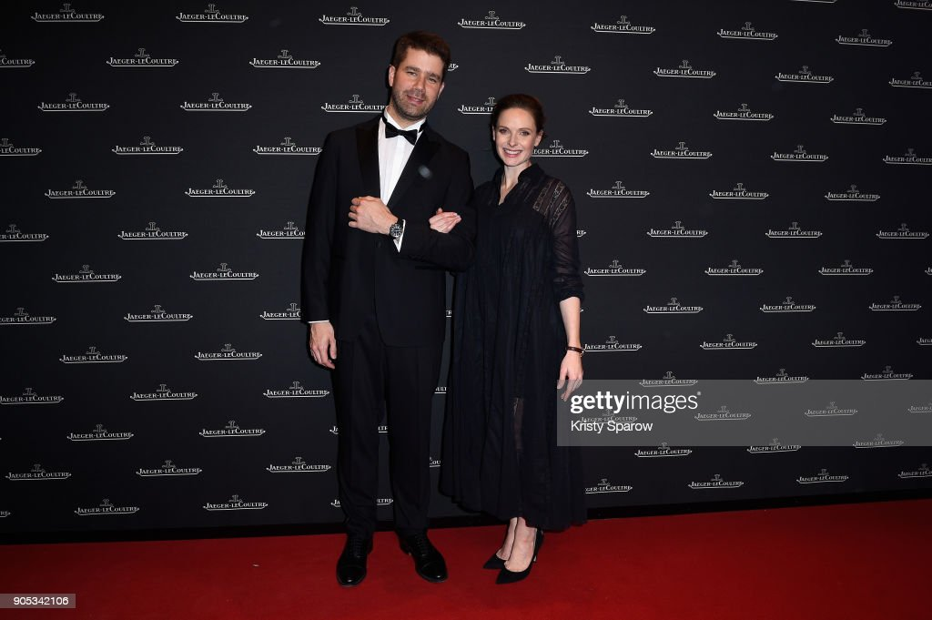 Rebecca Ferguson (R) and Geoffroy Lefebvre attend Jaeger-LeCoultre Polaris Gala Evening at the SIHH 2018 at Pavillon Sicli on January 15, 2018 in Les Acacias, Switzerland.