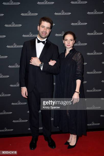 Rebecca Ferguson and Geoffroy Lefebvre attend JaegerLeCoultre Polaris Gala Evening at the SIHH 2018 at Pavillon Sicli on January 15 2018 in Les...