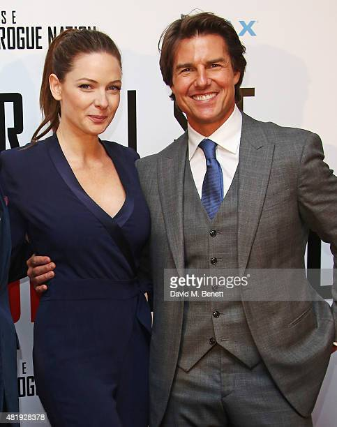 Rebecca Ferguson and Tom Cruise attend an exclusive screening of 'Mission Impossible Rogue Nation' at the BFI IMAX on July 25 2015 in London England