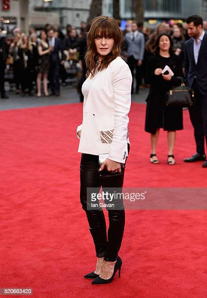 "Rebecca Ferguson arrives for the UK film premiere of ""Florence Foster Jenkins"" at Odeon Leicester Square on April 12, 2016 in London, England."