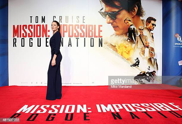 Rebecca Ferguson attends the UK Fan Screening of 'Mission Impossible Rogue Nation' at the IMAX Waterloo on July 25 2015 in London United Kingdom