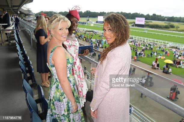 Rebecca Ferguson Eunice Olumide and Natalie Rushdie attend the King George Weekend at Ascot Racecourse on July 27 2019 in Ascot England