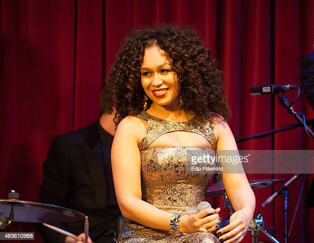 Rebecca Ferguson performs on stage at St James Theatre on February 16 2015 in London United Kingdom