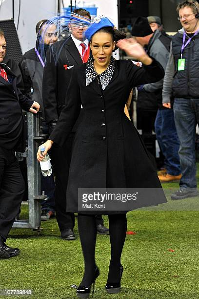 Rebecca Ferguson the 2010 X Factor runner up performs at the The LV= Big Game 3 Aviva Premiership Rugby match between Harlequins and London Irish at...
