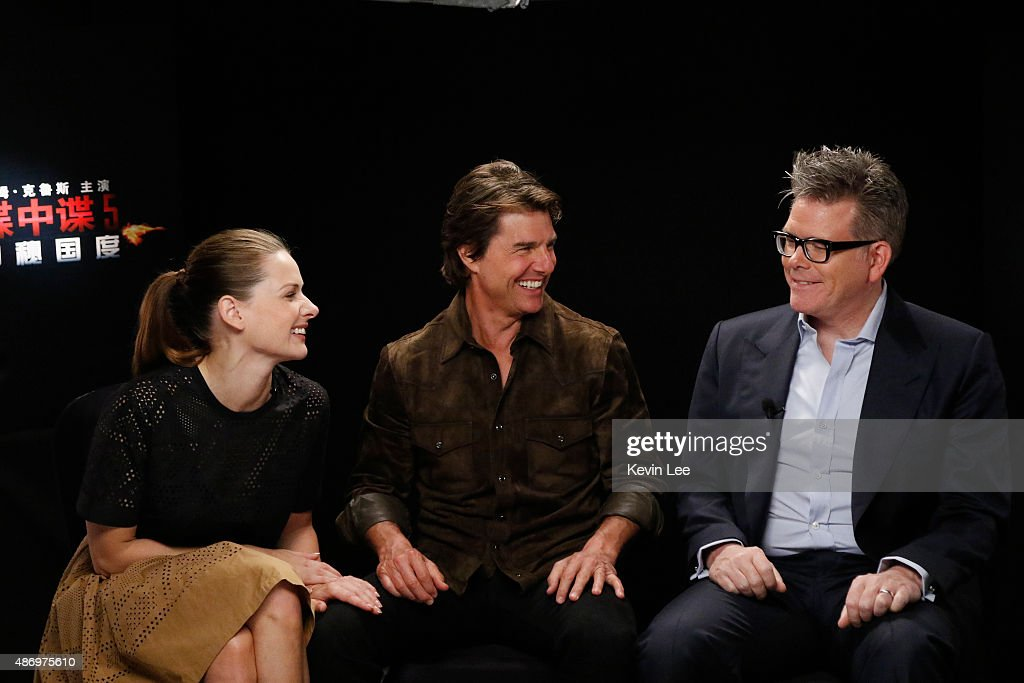 Rebecca Ferguson, Tom Cruise, and Director Christopher McQuarrie, speaks to Chengdu fans during a tele-broadcasting on August 5, 2015 in Shanghai, China.