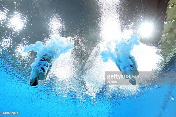 Rebecca Gallantree and Alicia Blagg of Great Britain compete in the Women's Synchronised 3m Springboard final on Day 2 of the London 2012 Olympic...
