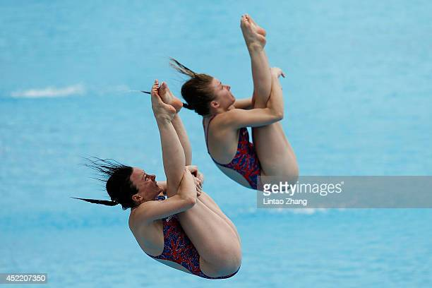Rebecca Gallantree and Hannah Staring of Great Britain compete in the Women's 3m Springboard Preliminary during day Two of the 19th FINA Diving World...