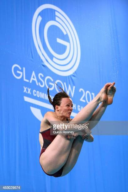 Rebecca Gallantree of England competes in the Women's 1m Springboard Final at Royal Commonwealth Pool during day nine of the Glasgow 2014...