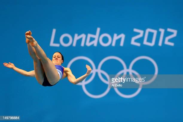 Rebecca Gallantree of Great Britain competes in the Women's 3m Springboard Diving Semifinal on Day 8 of the London 2012 Olympic Games at the Aquatics...