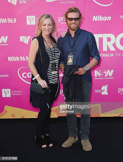 Rebecca Gibney and Simon Baker arrive ahead of Tropfest 2016 at Centennial Park on February 14 2016 in Sydney Australia