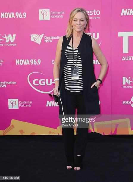 Rebecca Gibney arrives ahead of Tropfest 2016 at Centennial Park on February 14 2016 in Sydney Australia