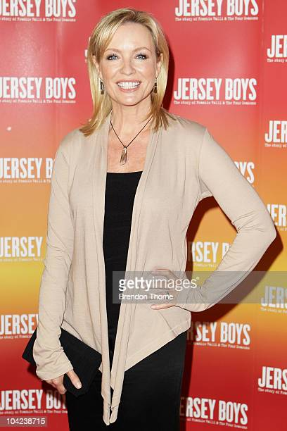 Rebecca Gibney arrives at the opening night for 'Jersey Boys The Story of Frankie Valli the Four Seasons' at the Theatre Royal on September 18 2010...