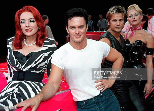 Rebecca Gibney Craig McLachlan Jon Stevens and Jo Beth Taylor during rehearsals for the stage production of 'Happy Days The Arena Mega Musical' at...