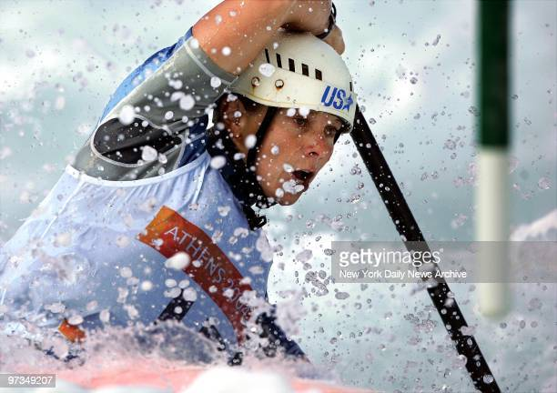 Rebecca Giddens of the United States competes in women's K1 kayak single slalom racing at the 2004 Summer Olympic Games in Athens She finished fifth...