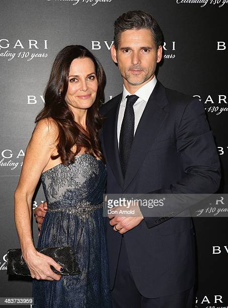Rebecca Gleeson and husband Eric Bana pose at the 130th Anniversary of Bvlgari Gala Dinner at a private residence in Darling Point on April 10 2014...