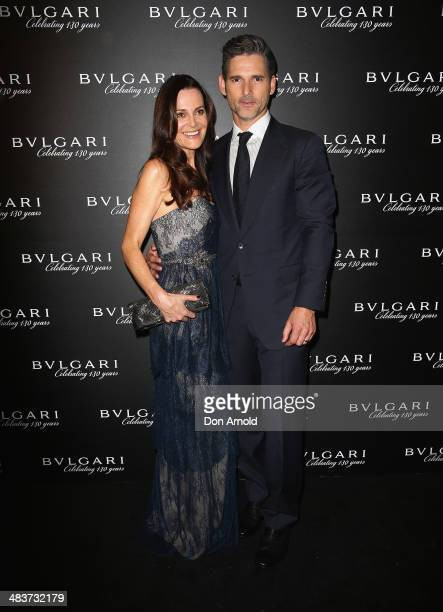 Rebecca Gleeson poses alongside husband Eric Bana at the 130th Anniversary of Bvlgari Gala Dinner at a private residence in Darling Point on April 10...