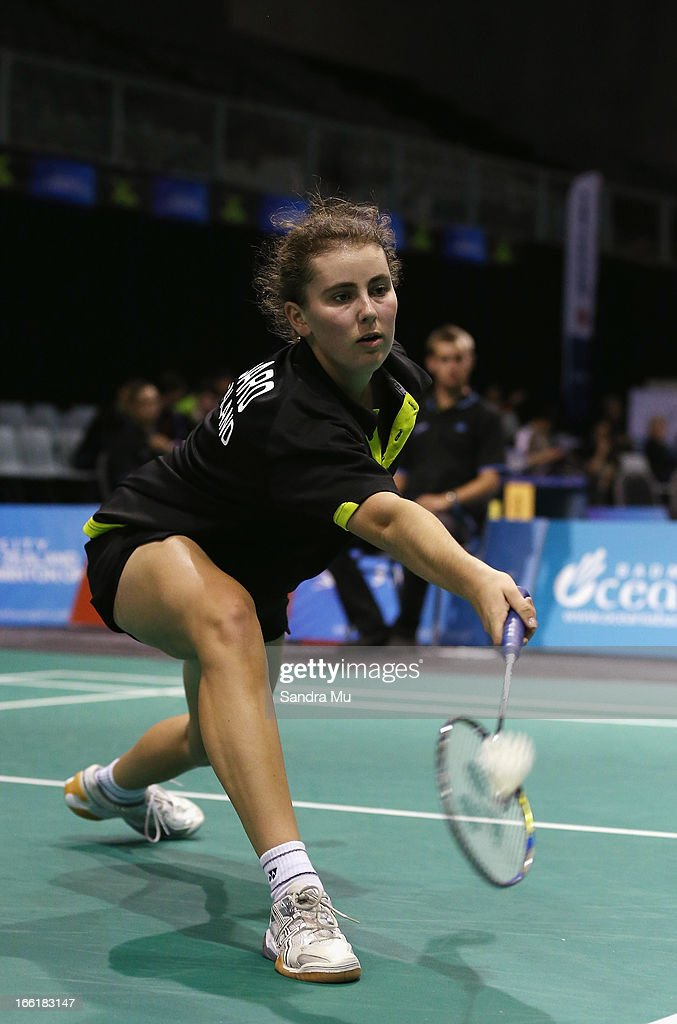 Rebecca Goddard of New Zealand in action during qualifying for the New Zealand Badminton Open at North Shore Events Centre on April 10, 2013 in Auckland, New Zealand.