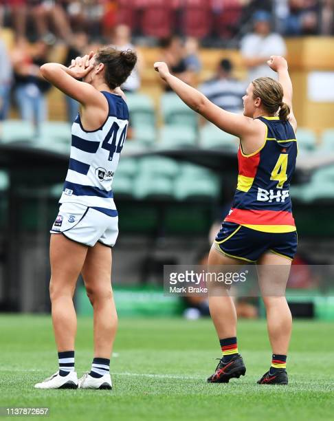 Rebecca Goring of the Cats defaeted Chloe Scheer of the Adelaide Crows celebrates at the final siren during the AFLW Preliminary Final match between...