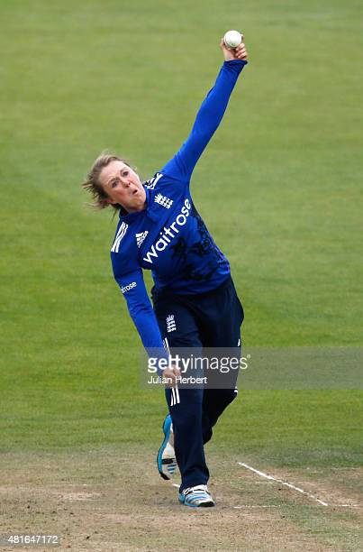 Rebecca Grundy of England bowls during the 2nd Royal London ODI of the Women's Ashes Series between England Women v Australia Women at The County...