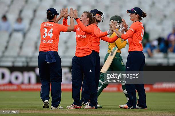 Rebecca Grundy of England celebrates dismissing Dane van Niekerk of South Africa during the 2nd T20 International match between South Africa Women...