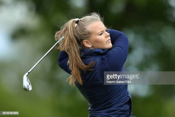 Rebecca Gyllner of Sweden in action during the final round of the Girls' U16 Open Championship at Fulford Golf Club on April 29 2018 in York England