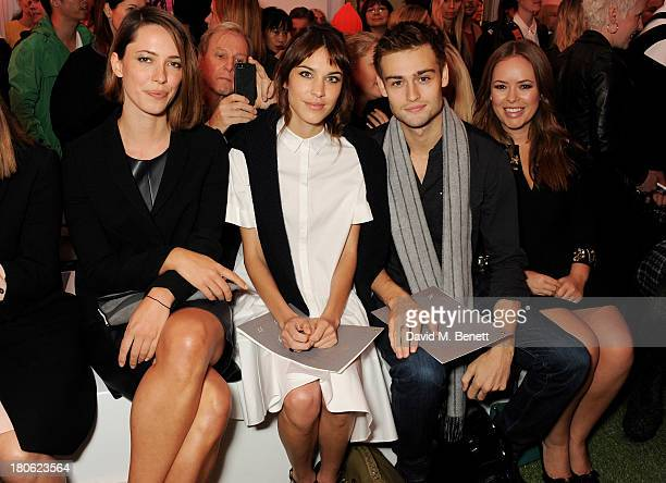 Rebecca Hall Alexa Chung Douglas Booth and Tanya Burr attend the Mulberry Spring/Summer 2014 show during London Fashion Week at Claridges Hotel on...