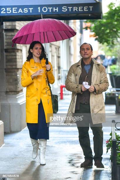 Rebecca Hall and Jude Law seen on location for Woody Allen's untitled movie on October 18 2017 in New York City