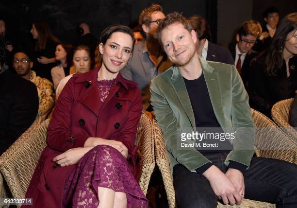 Rebecca Hall and Simon Woods wearing Burberry attends the Burberry February 2017 Show during London Fashion Week February 2017 at Makers House on...
