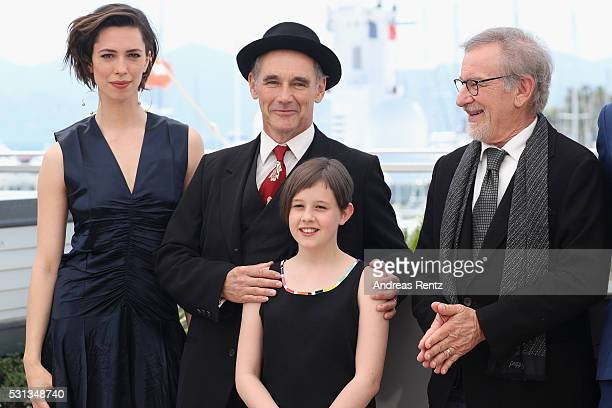 "Rebecca Hall, Mark Rylance, Ruby Barnhill and Steven Spielberg attend ""The BFG "" photocall during the 69th annual Cannes Film Festival at the Palais..."
