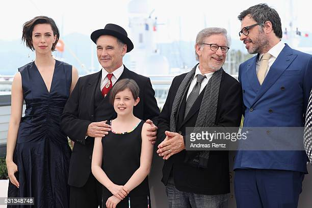 Rebecca Hall Mark Rylance Ruby Barnhill Steven Spielberg and Jemaine Clement attend The BFG photocall during the 69th annual Cannes Film Festival at...
