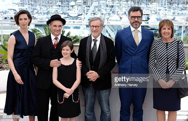 Rebecca Hall; Mark Rylance, Ruby Barnhill, Steven Spielberg, Jemaine Clement and Penelope Wilson attend 'The BFG ' photocall during the 69th annual...