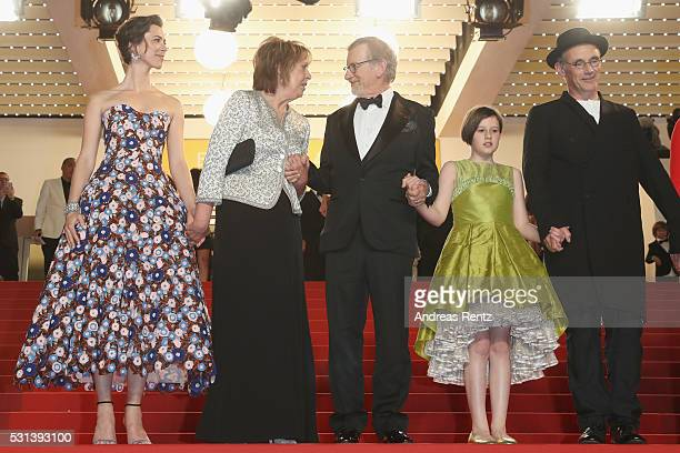 Rebecca Hall Penelope Wilton Steven Spielberg Ruby Barnhill and Mark Rylance attend The BFG premiere during the 69th annual Cannes Film Festival at...