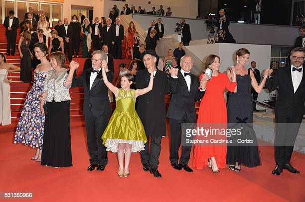 Rebecca Hall Penelope Wilton Steven Spielberg Ruby Barnhill Mark Rylance Frank Marshall Kathleen Kennedy Lucy Dahl and Jemaine Clement attend the The...