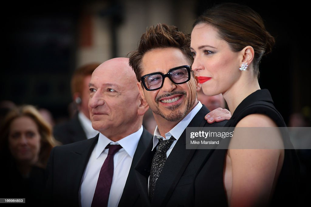 Rebecca Hall, Robert Downey Jr and Sir Ben Kingsley attend a special screening of 'Iron Man 3' at Odeon Leicester Square on April 18, 2013 in London, England.