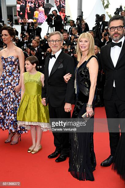 Rebecca Hall Ruby Barnhill Steven Spielberg Kate Capshaw and Jemaine Clement attend 'The BFG ' premiere during the 69th annual Cannes Film Festival...