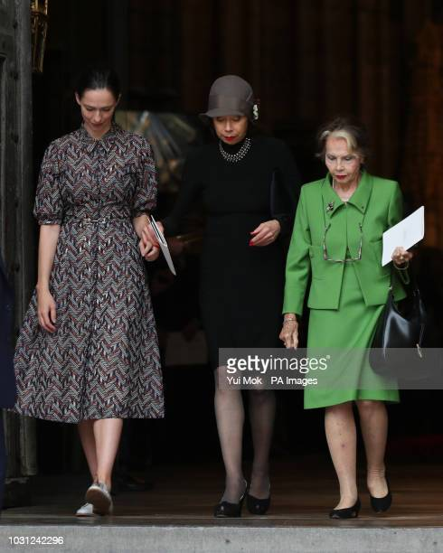 Rebecca Hall the daughter of Sir Peter Hall the former director of the National Theatre leaves with his ex wives Maria Ewing and Leslie Caron after...