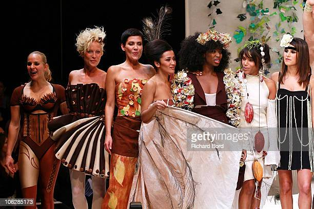 Rebecca Hampton Cristine Cordula Karima Charni Inna Modja Audrey Chauveau and Karine Ferri celebrate the Chocolate dress fashion show celebrating...