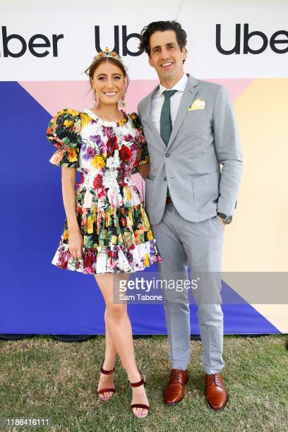 Rebecca Harding and Andy Lee arrive at Seppelt Wines Stakes Day at Flemington Racecourse on November 09 2019 in Melbourne Australia