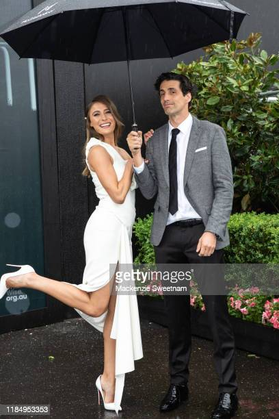 Rebecca Harding and Andy Lee poses at Seppel marquee Derby Day at Flemington Racecourse on November 02, 2019 in Melbourne, Australia.