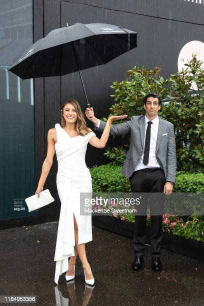 Rebecca Harding and Andy Lee poses at Seppel marquee Derby Day at Flemington Racecourse on November 02 2019 in Melbourne Australia