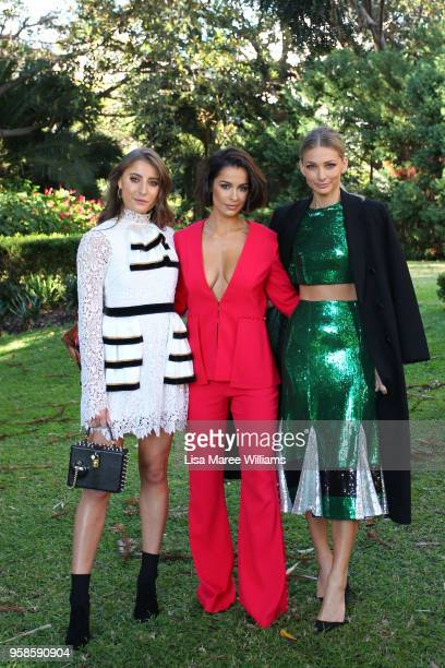 Rebecca Harding Ellie Gonsalves and Anna Heinrich arrive ahead of the MacGraw show at MercedesBenz Fashion Week Resort 19 Collections at the Swifts...
