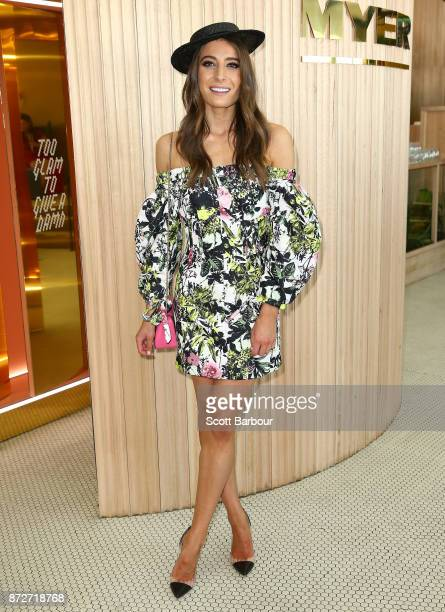 Rebecca Harding poses at the Myer Marquee on Stakes Day at Flemington Racecourse on November 11 2017 in Melbourne Australia