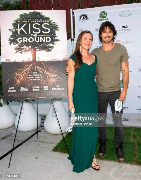 Rebecca Harrell and lan Somerhalder attend Kiss The Ground Los Angeles DriveIn Special Screening at Andaz West Hollywood on September 17 2020 in West...