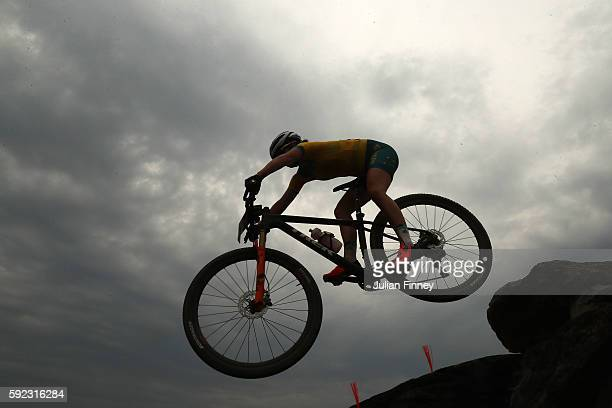 Rebecca Henderson of Australia rides during the Women's CrossCountry Mountain Bike Race on Day 15 of the Rio 2016 Olympic Games at the Mountain Bike...