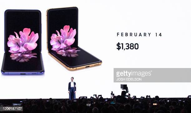 Rebecca Hirst head of UK Mobile Product Development speaks during the Samsung Galaxy Unpacked 2020 event in San Francisco California on February 11...
